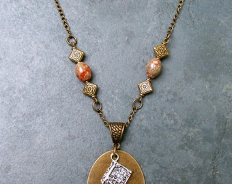Bibliophile Brass Stamped Metal Necklace