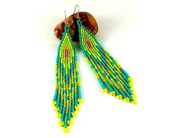 Hippie earrings Turquoise jewelry Ethnic earrings Turquoise earrings Beaded earrings native Extra long earrings Dangle earrings