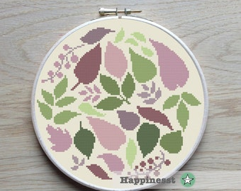 cross stitch pattern leaves, nature, PDF pattern ** instant download**