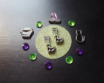 Witch Floating Charm Set for Floating Lockets-Halloween Charms-13 Peices-Gift Idea