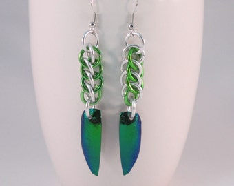 Beetle Wings Chainmaille Earrings