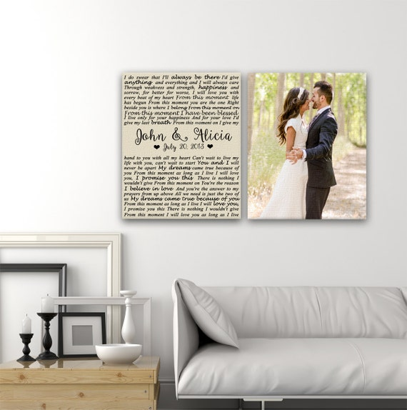 Wedding Vow Gifts: Wedding Vows Canvas Print Art Set Of 2 Same Size Wedding