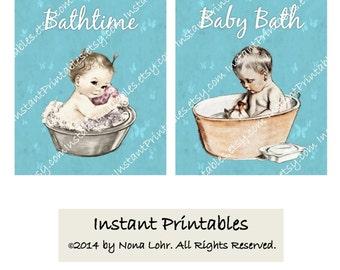Bathroom Wall Decor Baby Turquoise Aqua Art Print INSTANT DOWNLOAD Digital Vintage Bathtub
