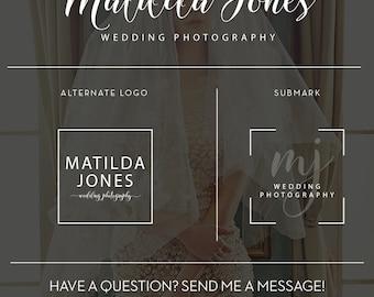 Wedding Photographer Branding Package, Watercolor Photography Branding Kit, Wedding Planner Logo, Event Planning Logo Design Watermark