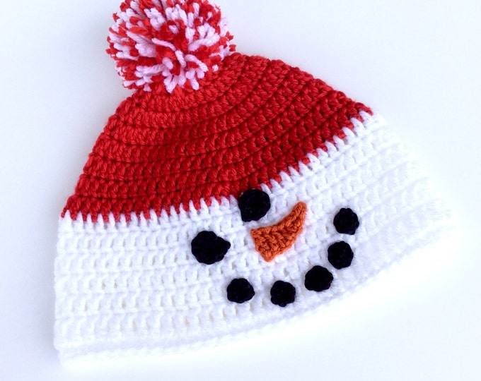 Snowman Hat for Child, Crochet Winter Snowman Beanie with Pom Pom