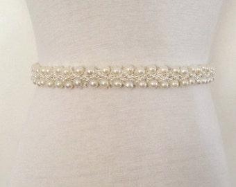 "All Around Sash-All Around Pearl-Around Waist Pearl-All Pearl Belt-Bridal-Wedding-0.8"" Wide All Around Ivory Pearl Sash"