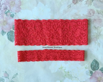 Red Garter Set-Red Lace Garter-Bright Red Garter-Red Bridal Garter-Plain Red Garter-Red Toss Garter-Stretch Lace-Plain Red Lace Garter Set