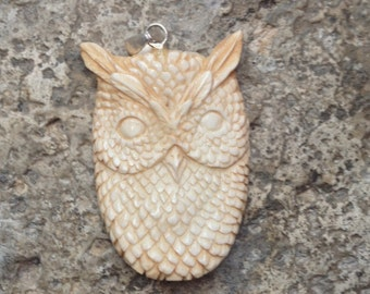 Carved Bone Owl Pendant - 2 Inches - 50 mm
