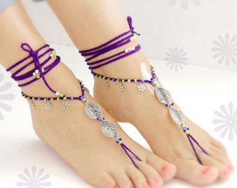 Silver Leaf Barefoot Sandals. Purple Anklet