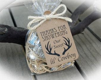 Antler Baby Shower Favor | Cowboy Shower Favor | Cowboy Antler shower favor- DIY Bags/Favor Tags w/Ribbon-Candy Favors-Western Baby Shower