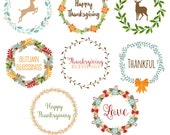 Thanksgiving Wreaths Clipart, Thanksgiving Clipart, Digital Wreaths, Wreath Clipart, Wreath Graphics, Printable, Commercial Use