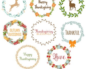 80% OFF SALE Thanksgiving Wreaths Clipart, Thanksgiving Clipart, Digital Wreaths, Wreath Clipart, Wreath Graphics, Printable, Commercial Use