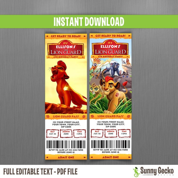 Disney the lion guard birthday ticket invitations instant download il570xn filmwisefo Choice Image