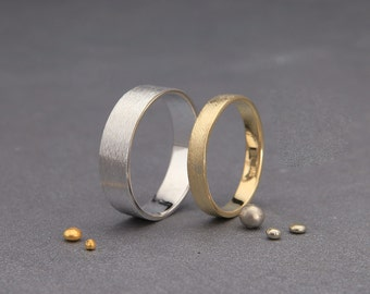 Yellow and White 14K Gold Rusted Wedding Rings Set   Handmade brushed wedding bands set 3mm, 4mm, 5mm, 6mm