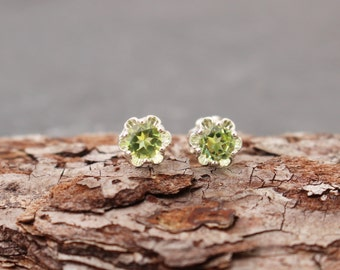 Peridot and Sterling Silver Stud Post Earrings
