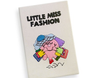 Little Miss Fashion book clutch. Handmade book purse with hand-embroidery. Fashion lover gift. Girlfriend gift