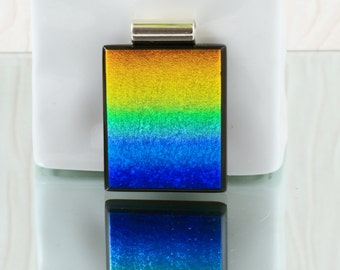 Rainbow Fused Glass Pendant - Dichroic Glass Jewellery - Necklace - Fused Glass Jewelry  JBT271