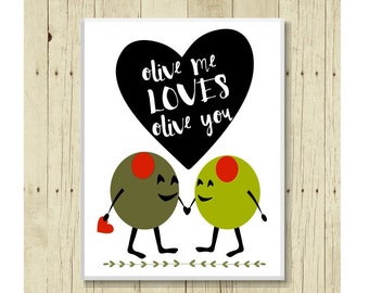 Love Magnet, Funny Magent, Refrigerator Magnet, Funny Food Pun, Olive Magnet, Gifts Under 10, Small Gift, Olive Art, Gift Magnet
