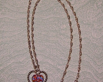 Sarah Coventry gold tone pendant necklace red heart and flowers Venetian glass millefiore