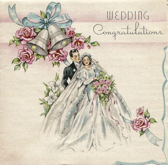 Vintage Wedding Congratulations Bride And Groom Card Flowers