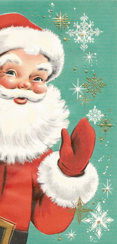Vintage retro Santa Claus Christmas card digital by ...