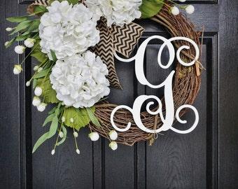 White Hydrangea Wreath. Year Round Wreath. Spring Wreath. Summer Wreath. Door Wreath. Burlap Wreath. Grapevine Wreath.