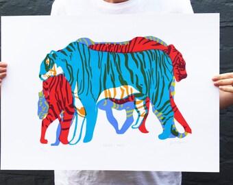 TIGER SCREENPRINT A2. Colourful blue, red, orange, purple and yellow original art print. Endangered wild animal, save the tiger WWF.