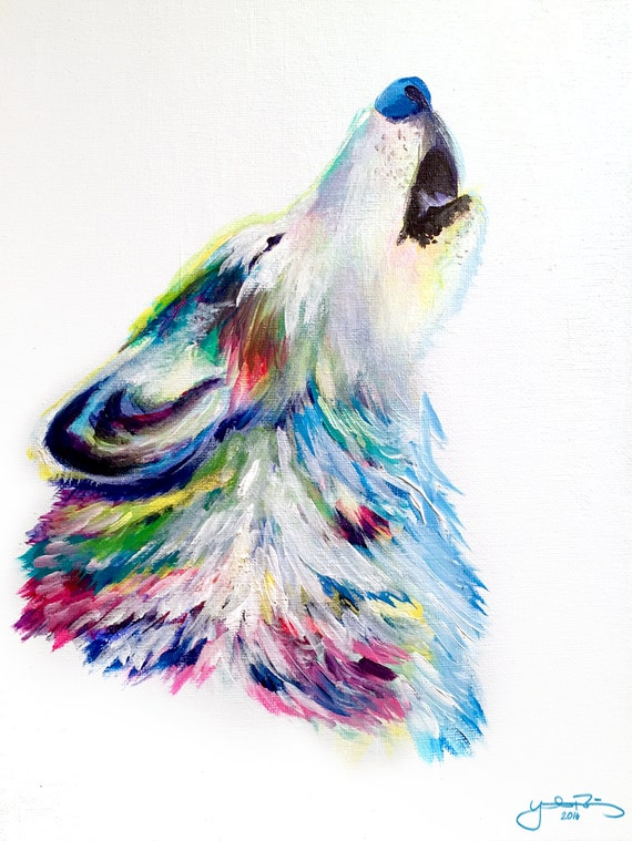 Colorful Wolf Howling Modern Acrylic Painting on Canvas Colorful Wolf Painting
