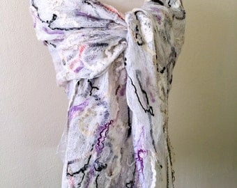 Grey and White Felted Scarf, Oversized Wool Scarf, Felted Wool Scarf, Сrazy wool Scarf, Bohemian Scarf, Nunofelting