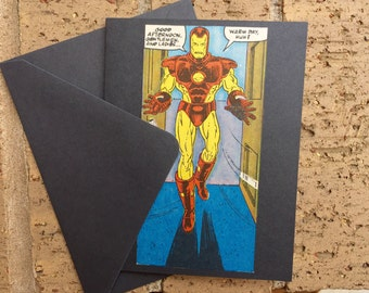 "Vintage Marvel Iron Man ""Warm Day , huh?"" Greeting Card (Blank)"