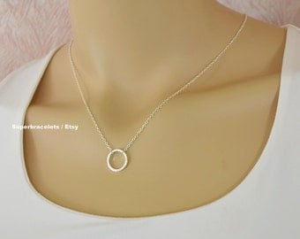 Dainty Circle Necklace / Karma Necklace  / Dainty small Circle  necklace / Bridesmaids necklace, Circle Necklace, disc necklace, disc hanger