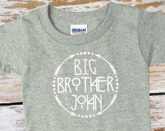 Big Brother Toddler Tshirt with Name | Tribal and Arrows | Boys Gray Toddler T shirt | Personalized Boys Shirt