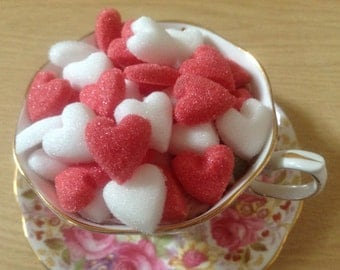 100 Red and White Heart Shaped Sugar Cubes