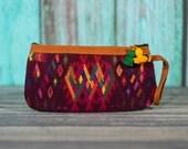 Huipil wristlet clutch make up bag gautemala pouch pompom purse