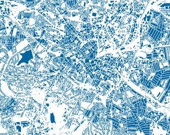 Birmingham Map - Buildings - City Map Art Print of Birmingham, England