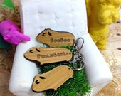 Guinea Pig Wooden Keyring, Keychain or Bag Charm - Laser Cut Bamboo or Maple Wood Keychain