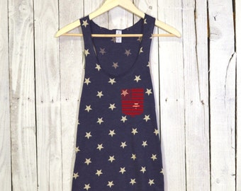 American Flag Tank Top. 4th of July Tank. Stars Racerback Tank. Tri Blend.