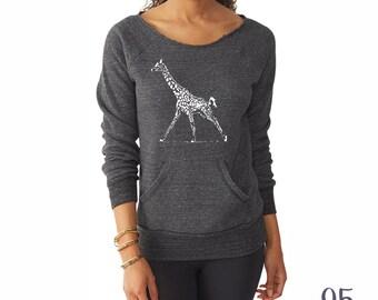 Giraffe Shirt. Off the Shoulder. Giraffe Sweatshirt. Women's Clothing.