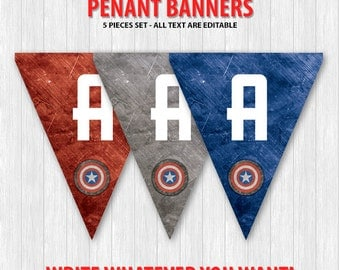 Captain America Pennant Banners