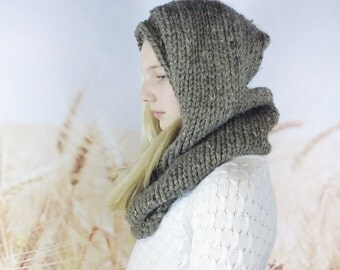 Child Sized Hand-knit Hooded Cowl With Button Hooded Scarf Knitted Snood Chunky Knit Cowl Scarf Oversized Cowl Winter Accessories - {barley}