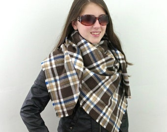 Blanket Scarf, Plaid Scarf, Cotton Scarf in Brown, White and Blue, Flannel Scarf, Tartan Scarf, SALE 20% OFF