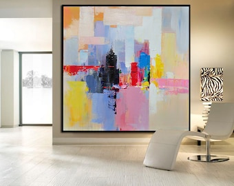 Handmade Large Contemporary Art Canvas Painting, Original Art Acrylic Painting, Abstract Canvas Art. Yellow, Red, Blue, Pink, Black, Cream.