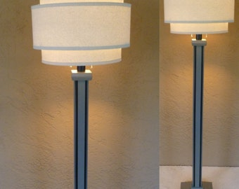 "Retro modern wood floor lamp base in ""Dolphin"" gray with black trim without shade. Includes LED bulb and free shipping to lower 48 states"