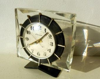 Mechanical Working Crystal CLOCK MOLNIJA Molnia 1960s Home Decor Russian USSR Ukraine rare transparent case Vintage Soviet era Mantle clock