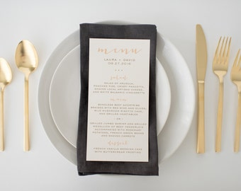 laura wedding menus (sets of 10)  // simple rustic peach blush gold custom romantic calligraphy wedding menu