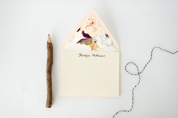 personalized stationery set - flat note cards & lined envelopes (sets of 10) // lola louie paperie