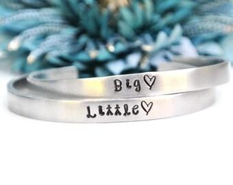 Big Little Sorority Hand Stamped Bracelet Set Hand Stamped Jewelry | Greek | Big Sister Little Sister | Big Little Reveal | Big Little Gift