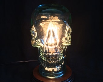 Glass Skull Lamp - Creepy Chic! Perfect for Halloween, cabinet of curiosities, horror movie fans, fashion designers
