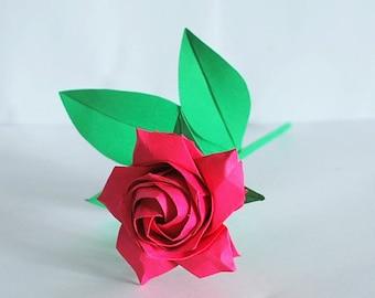 Red rose - Origami rose - paper rose flower - rose gift - anniversary rose - gift for her - pentagon Rose - valentine gift