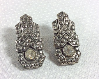 Vintage Art Deco Marcasite and Rhinestone Shoe Clips